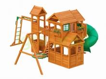 Деревянная детская площадка для дачи Igragrad Клубный Домик Макси с трубой