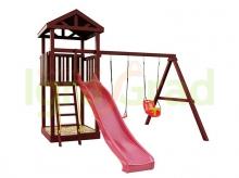 Деревянная детская площадка для дачи Igragrad Панда Фани tower с качельным модулем