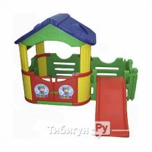 Двойной игровой домик Happy Box с горкой