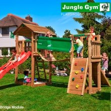Детский игровой комплекс Jungle Gym Cottage + Bridge Module