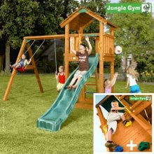 Игровой комплекс Jungle Gym Cottage + Swing Module Xtra + Rock Module