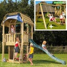 Детский деревянный комплекс Jungle Gym Barn + Swing Module Xtra