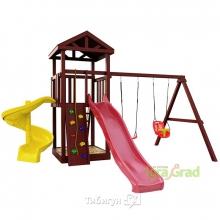 Деревянная детская площадка для дачи Igragrad Панда Фани + винтовая горка