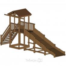 Детская площадка Красная Звезда Можга  с зимней горкой и широкой лестницей