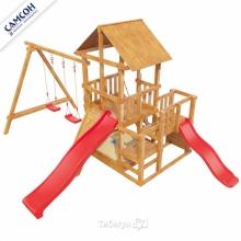 Игровая деревянная площадка Сибирика с 2-я горками