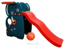 Детская горка-волна Happy Box Слон с баскетбольным кольцом и мячом