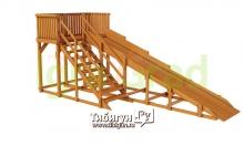 Детская деревянная зимняя горка Snow Fox, скат 5,9 м