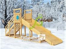 Зимняя горка Снежинка, скат 4 м (не окрашена)