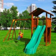 Детский игровой комплекс Jungle Gym Cottage + Rock Module + Рукоход с качелей