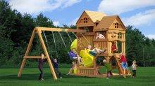 Игровой деревянный комплекс Панорама с винтовой трубой
