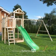 Детская деревянная площадка для дачи Большая Панда скалодром