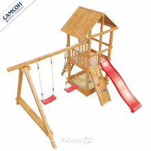 Игровая деревянная площадка Сибирика с Сеткой
