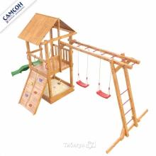 Игровая деревянная площадка Сибирика с рукоходом